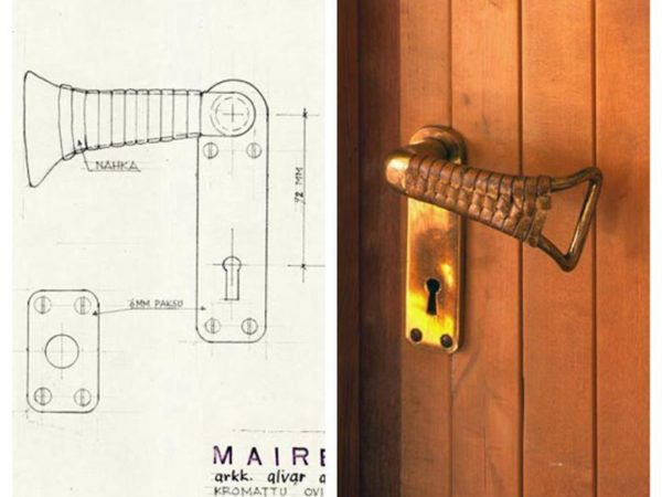 The door handles at the Villa Mairea by Alvar Aalto